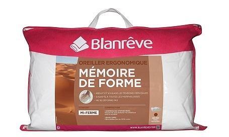 oreiller ergonomique Blanrêve mémoire de forme