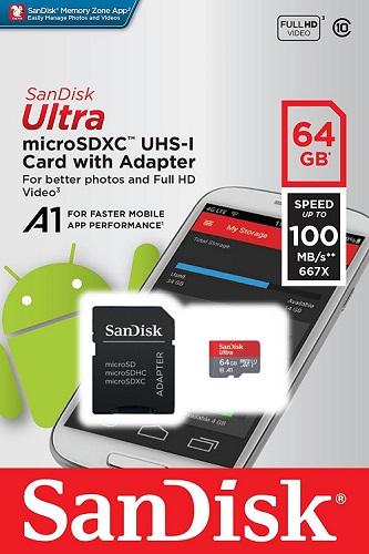 Carte Mémoire micro SD XC SanDisk Ultra 64GB SDSQUAR-064G-GN6MA