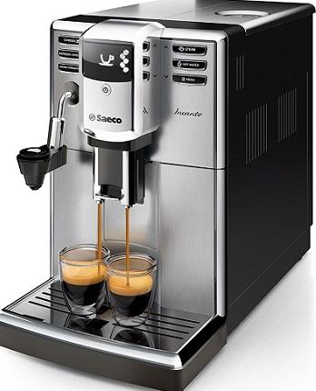 Cafetière Saeco HD891401 Incanto Machine à Café Automatique InoxNoir, Ecran LCD, Système de détartrage, Mousseur de lait automatique